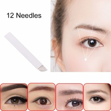 12 Pin 50pcs White Eyebrow Tattoo Needles Blade Microblading Eyebrow Tattoo Curved Permanent Makeup Manual Embroidery Tool Hot