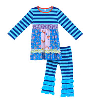 Cheap Price Children Knitted Cotton Outfits Stripes Patchwork Top Stripes Ruffle Pants Girls Boutique Remake Clothing