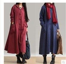 Women Long Sleeve Hooded Coat Casual Loose Maxi Dress Plus Size plus size beaded maxi long coat