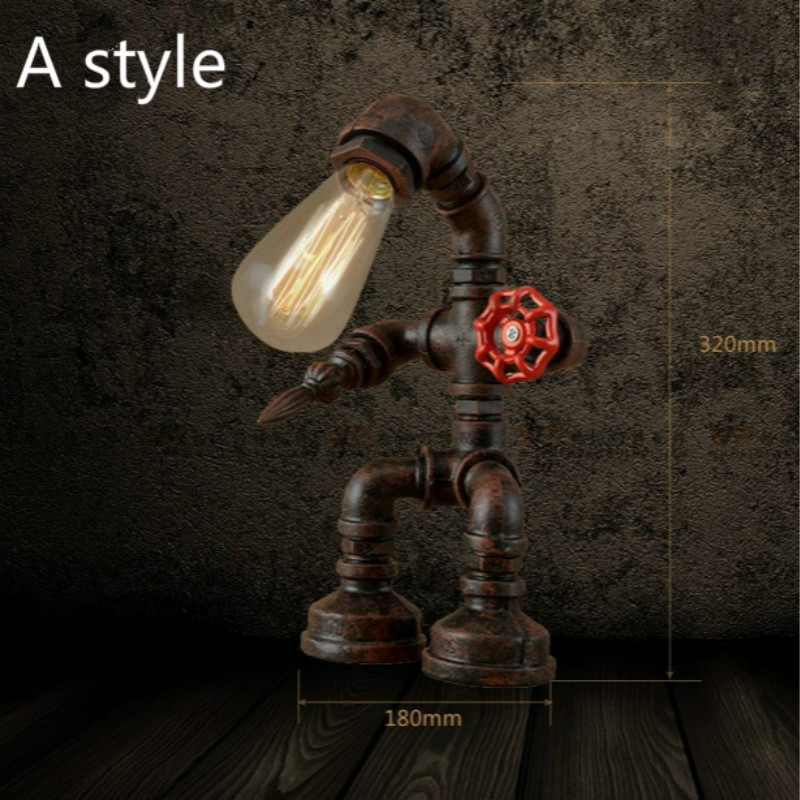 Simple Iron Water Pipe Robot Wall Lamp Industrial Edison Wall Sconce Antique Robot Vintage Wall Light Indoor Lighting IY121718 new in stock ve j62 iy vi j62 iy