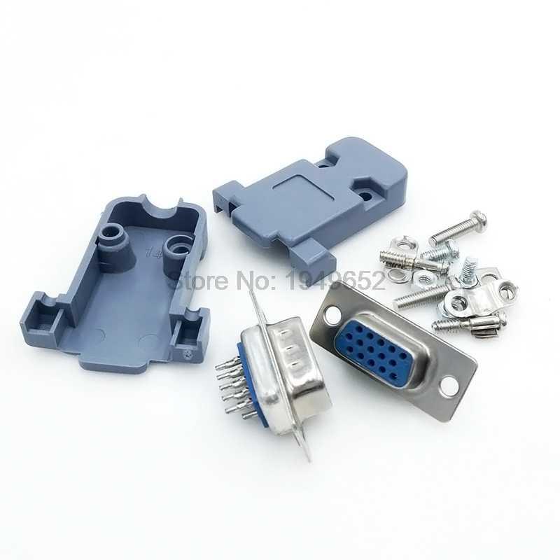 DB15 15 gat pin 3 rijen Parallel Vga-poort Adapter man vrouw plug socket Soldeer Gelast Connector + Plastic Shell cover