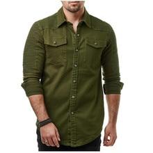 Fashion Mens Casual Long Sleeve Washed Denim Shirt Top Street Clothing Folded shoulders solid color denim shirt