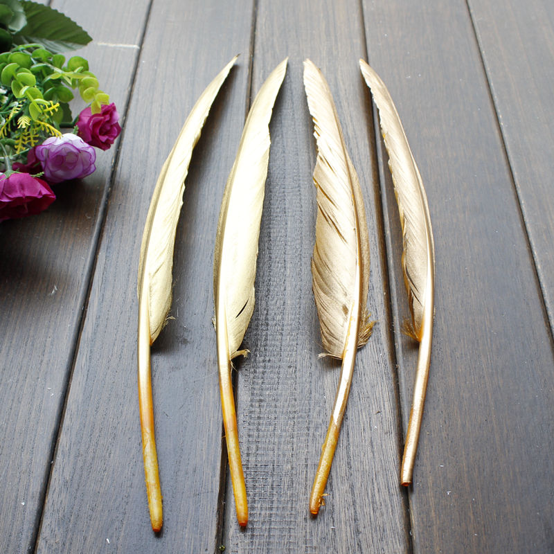 New !Free shipping 50pcs/lot Beautiful Gold Goose Feather 12-14 Inches 30-35 cm Wedding, Party ,Home ,Hairs DIY Decoration