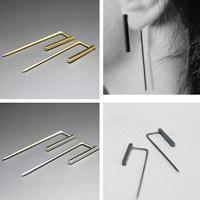 Fashion Copper Gold Silver Punk Simple T Bar   Earrings   For Women Ear Stud   Earrings     Fine   Jewelry Geometry Brincos Bijoux