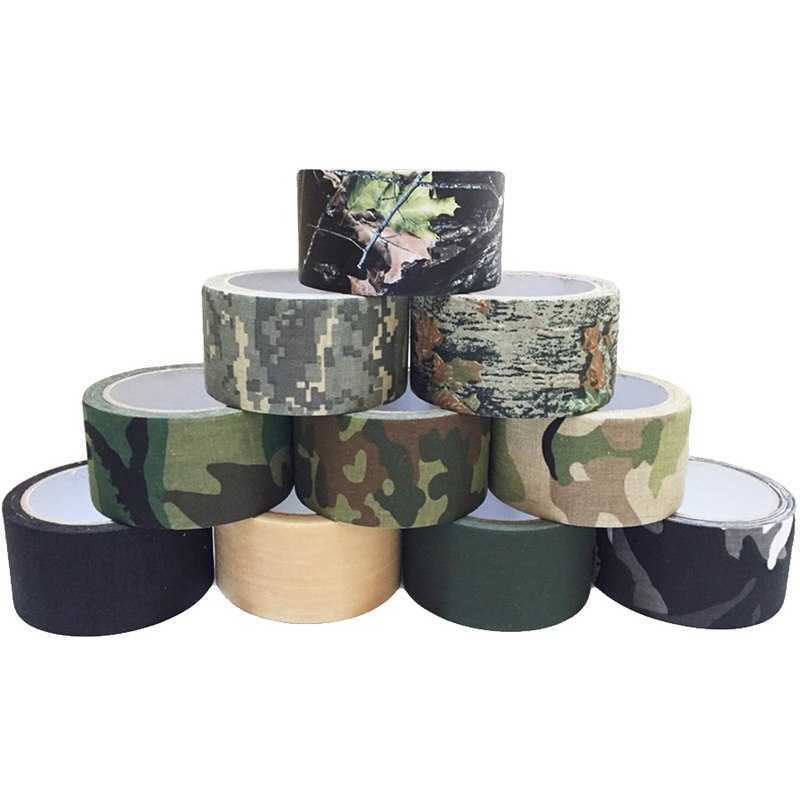 5cm X 5m Outdoor Camo Camouflage Stealth Glue Tape Durable Self-adhesive Cohesive For Camping Hunting Shooting Tool Photography