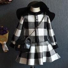2PCS/0-7Years/Autumn Baby Girl Clothes Set fashion Princess Plaid coat+Short skirts children clothing Korean version Suit BC1419