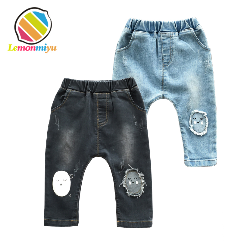 Lemonmiyu Long Infants Boy Trousers Elastic Waist Cotton Baby Jeans Full Length Pants Newborn Cartoon Mid Casual Spring Pants jiqiuguer women solid cotton wide leg embroidery pants vintage stretch jeans elastic waist loose casual spring trousers g182k004