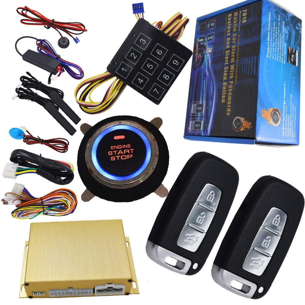 Démarrage du moteur bouton d'arrêt de voiture automatique de système d'alarme de sécurité sans clé voiture portes alarme de capteur de choc télécommande déclencheur d'arrêt de démarrage