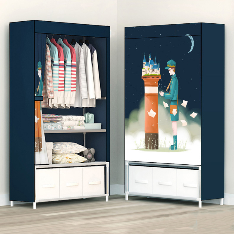 Fashion Painting Partable Wardrobe Reinforced Stainless Steel Stand Holder Minimalist Modern Bedroom Furniture Clothing ClosetFashion Painting Partable Wardrobe Reinforced Stainless Steel Stand Holder Minimalist Modern Bedroom Furniture Clothing Closet