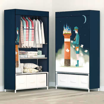 Fashion Painting Partable Wardrobe Reinforced Stainless Steel Stand Holder Minimalist Modern Bedroom Furniture Clothing Closet - DISCOUNT ITEM  10% OFF All Category