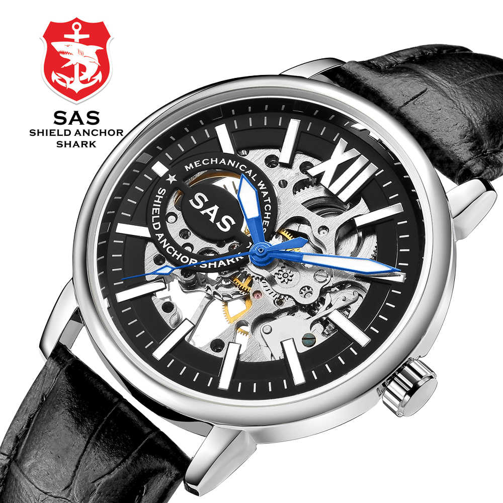 SAS Mens Mechanical Watch Luminous Hands Leather Watches Men Skeleton Hand Wind Wrist Watch Clock relogio masculino