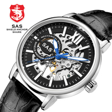 SAS Mens Mechanical Watch Luminous Hands Leather Wa