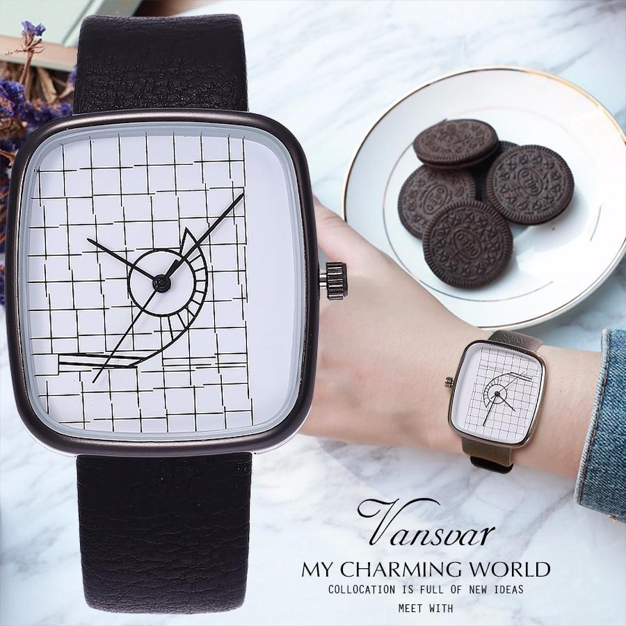 Vansvar Creative Women Men Quartz Watch Architectural Aesthetics Style Noble Watch Leather Strap Watch Drop Shipping