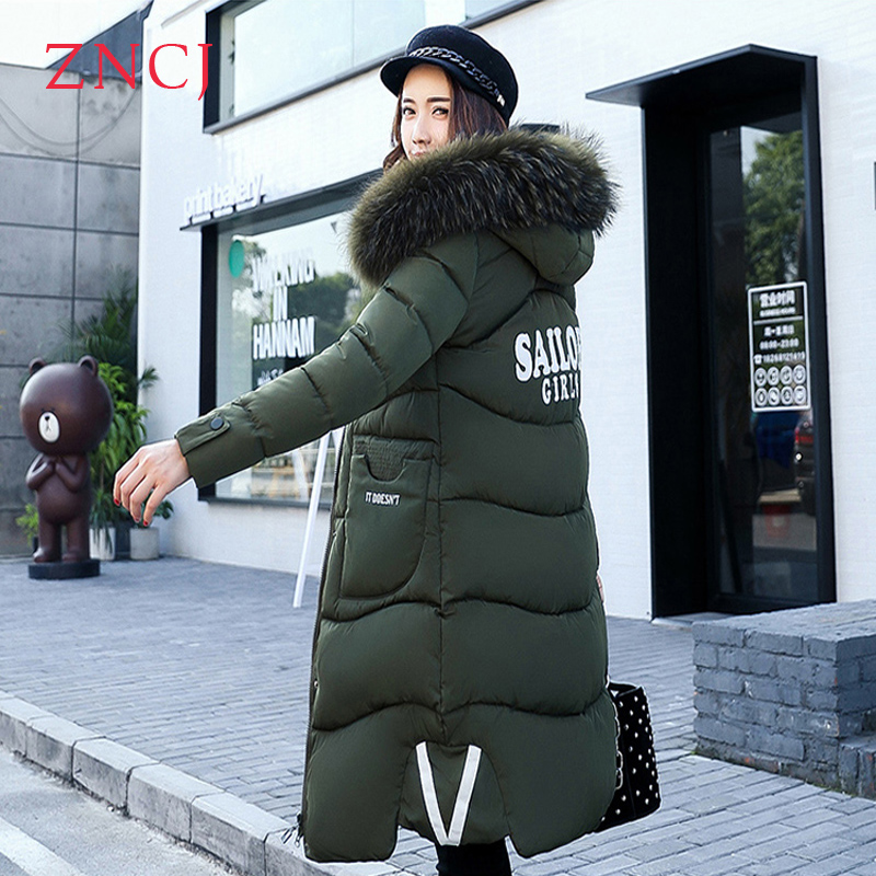 ZNCJ Newest Winter Slim Jacket Women knee Long Section Cotton Parkas Fashion Thick Hooded Fur Collar Pockets Warm Outwear winter feather cotton women outwear long section thick section slim hooded coats large fur collar large size down jacket lx165