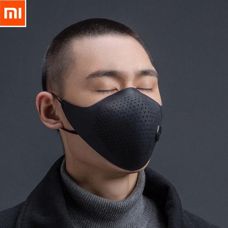 Promotion Date Xiaomi Mijia Usure Air PM0.3 Anti-brume Visage Masque Réglable oreille pendaison Confortable Visage Masques Noir Gris rouge
