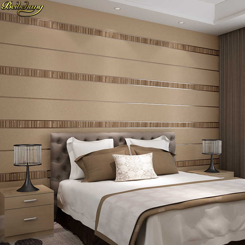 Beibehang Minimalis Modern 3D Kulit Rusa Bergaris Wallpaper Kamar Tidur Ruang Tamu TV Kepala Tempat Tidur.jpg q50