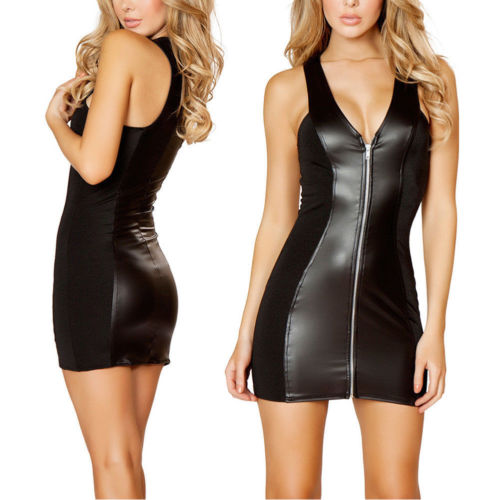 Plus Size Summer Women <font><b>Frauen</b></font> <font><b>Sexy</b></font> Verband Bodycon Minikleid Leder Cocktail Party Clubwear Exotic Leather <font><b>Dresses</b></font> image