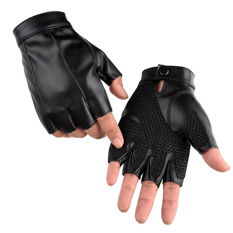 Fashion Men Sports Thin Breathable PU Leather Punk Hip-hop Gloves Half Finger Driving Non-slip Palm Cycling Black Gloves C7