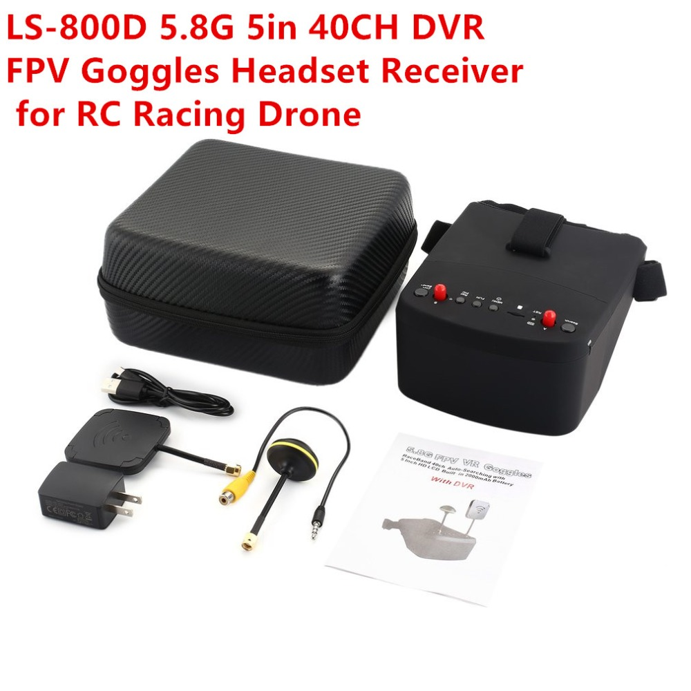 Здесь можно купить  LS-800D 5.8G 5in 40CH FPV Goggles Headset Receiver Monitor with HD DVR Dual Antenna Auto-searching for RC Racing Drone fz  Игрушки и Хобби