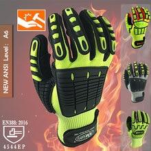 Устойчивые к порезам защитные рабочие перчатки анти вибрационные Анти Ударные маслостойкие защитные с нитриловой окунутой ладони перчатки для работы