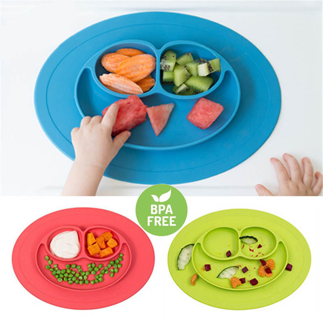 Children Smiling Face Silicone Plate Placemat Table Mats Heat Resistant Hot  Soft Cushion Non Slip
