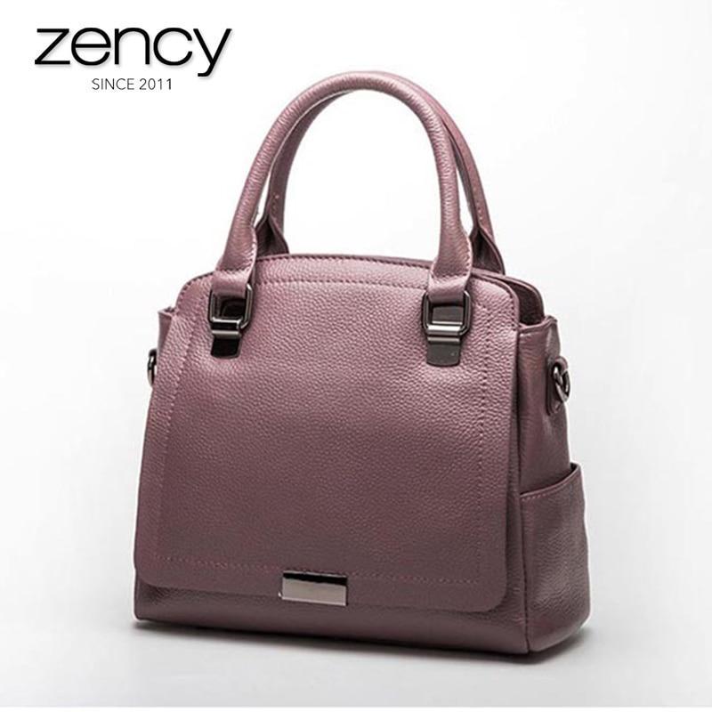 Zency 100 Genuine Leather Women Handbag Fashion Tote Bag Ladies Shoulder Purse Satchel High Quality Messenger