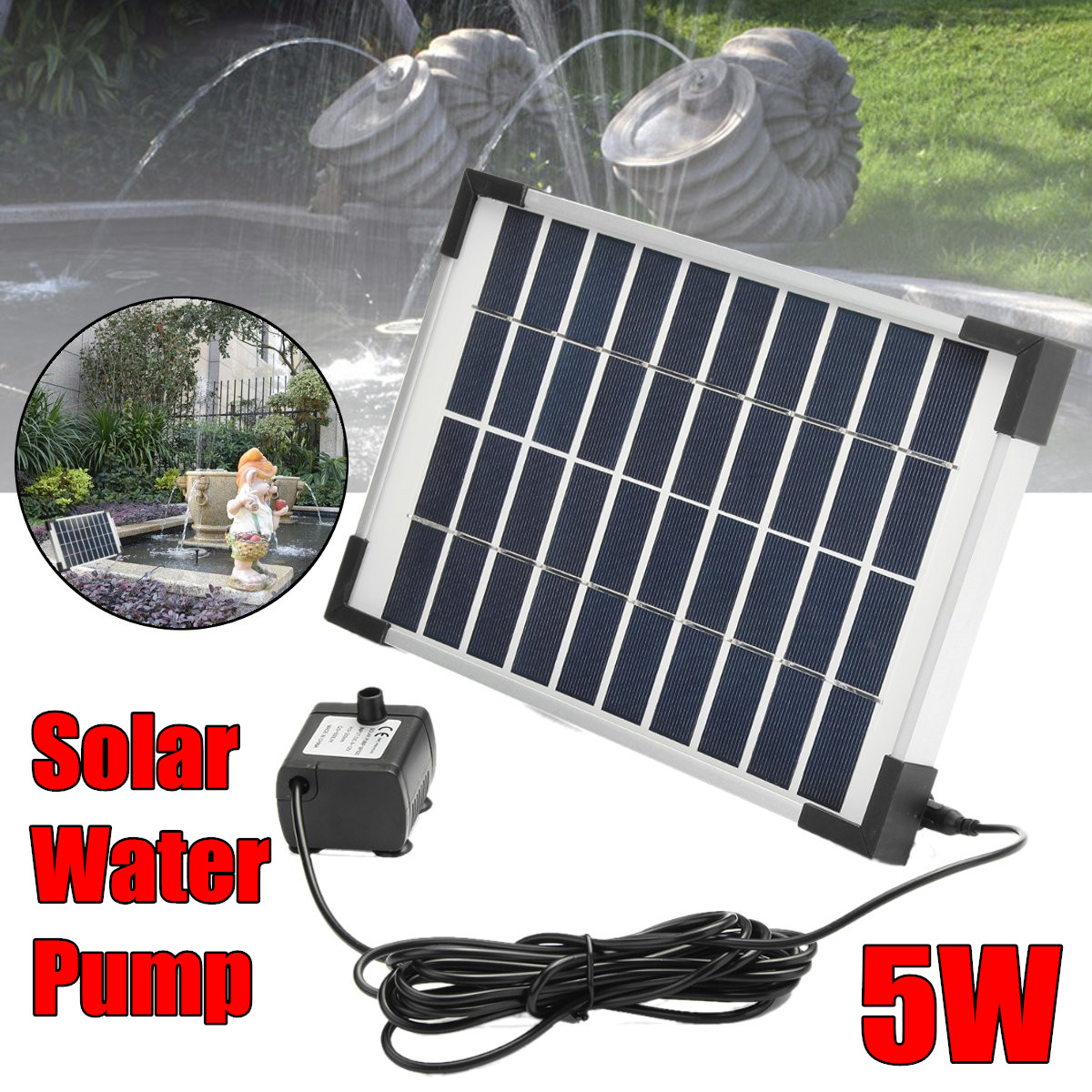 5 W 500L/H Micro énergie solaire fontaine pompe Mini pompe à eau pour étang fontaine rocaille fontaine jardin fontaine jardin décor