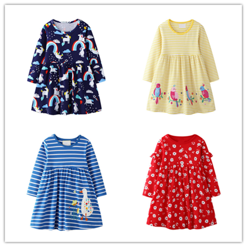 VIDMID baby girls long sleeve clothes dresses kids cotton summer cartoon clothing Embroidery striped