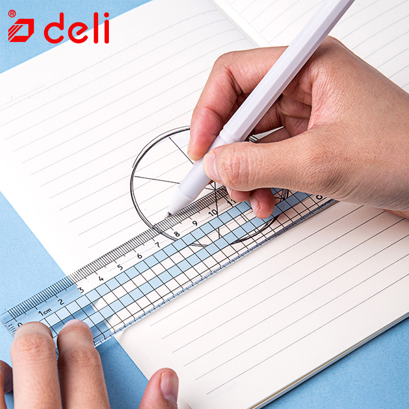 Deli 1pcs Soft Ruler Simple Student Stationery Flexible Ruler Linfini Series Measure Straight Ruler Office School Supplies