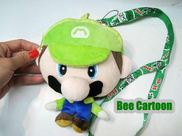 Free shipping  Super Mario Bros. PLUSH Mobile Phone BAG Coin Bag 3 Color Wholesale and Retail