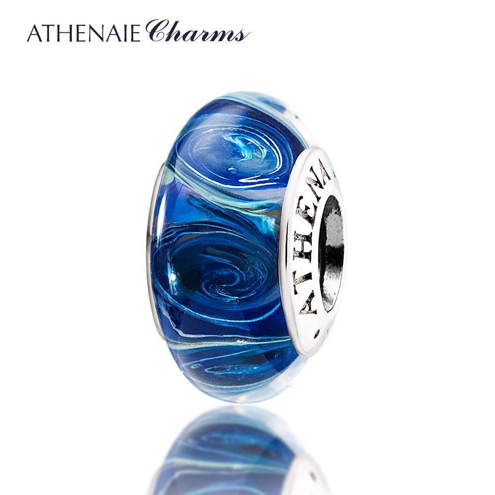 ATHENAIE Véritable Murano Verre 925 Argent Core Galaxy Charmes Perle Fit Européenne Bracelet et le Collier Pour Les Femmes BRICOLAGE Bijoux