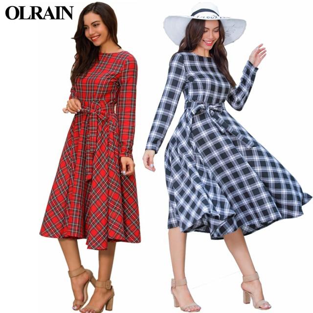 dd5f0f38b2 Olrain Spring and Autumn New Fashion Vintage Women Midi Dress O Neck Plaid  Vestidos Long Sleeve Cotton Linen Dress With Belt