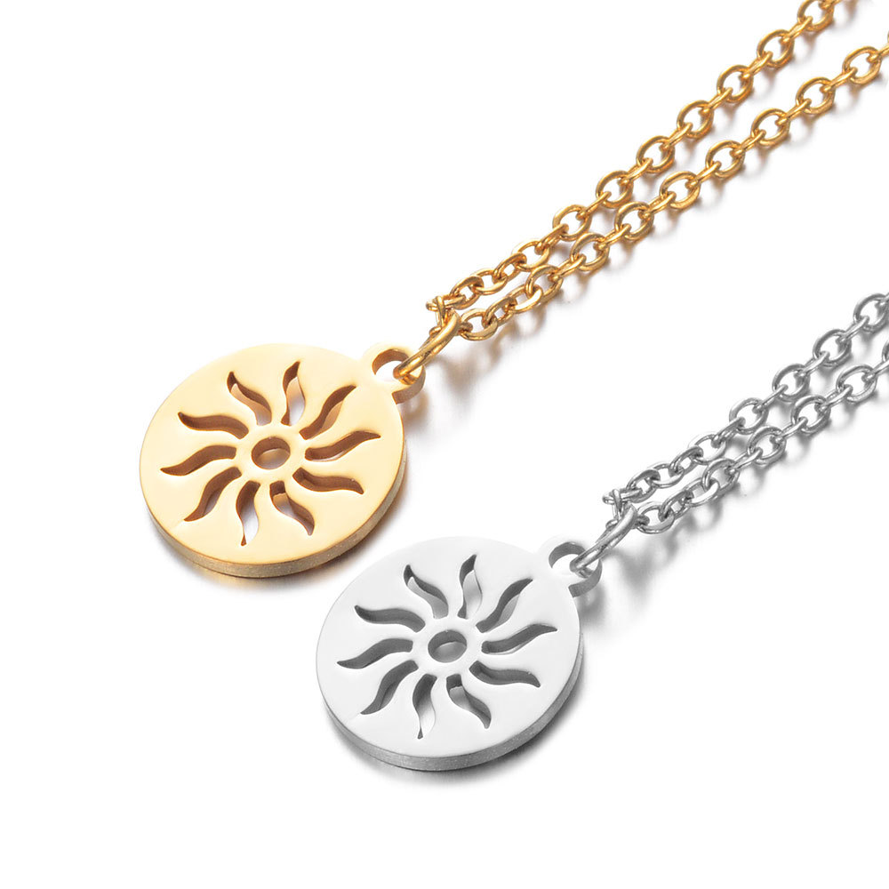 2019 Titanium Stainless Steel Round Tag Charm Necklace Silver Tone Long Gold Chain Sun Pattern Pendant Necklace for Men Jewelry in Chain Necklaces from Jewelry Accessories