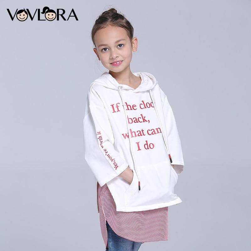 Girls tshirt Hooded Three Quarter Sleeve Letter Children tshirt Tops Print Cotton Kids Clothes Spring 2018 Size 7 8 9 10 11 12 Y