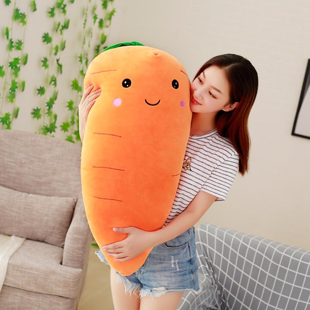 Planta de simulación creativa de peluche para niña, juguete de felpa de zanahoria rellena con plumón de algodón, almohada supersuave, regalo para niña, 55/75/95cm