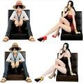 One Piece Луффи и Хэнкок 1/9 Масштаб Окрашенные Сидя Диван Ver. луффи Кукла PVC Фигурки Коллекционная Модель Игрушки 12 см KT3348