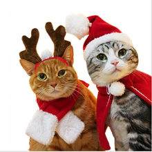 New Cat Christmas Costumes cloaks mantle buckhorn hat suit set clothes Pet Puppey Product Christmas For Cat Tiny dog(China)