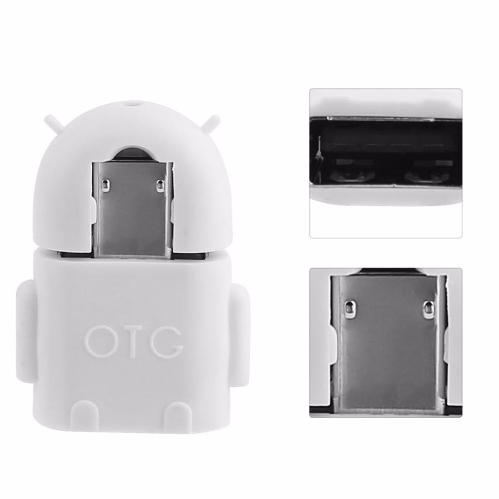 1PCs /5PCs/ 10PCs Robot Shape Micro USB 2.0 Converter Host Male to USB Female OTG Adapter For Android Tablet PC Computer Phone