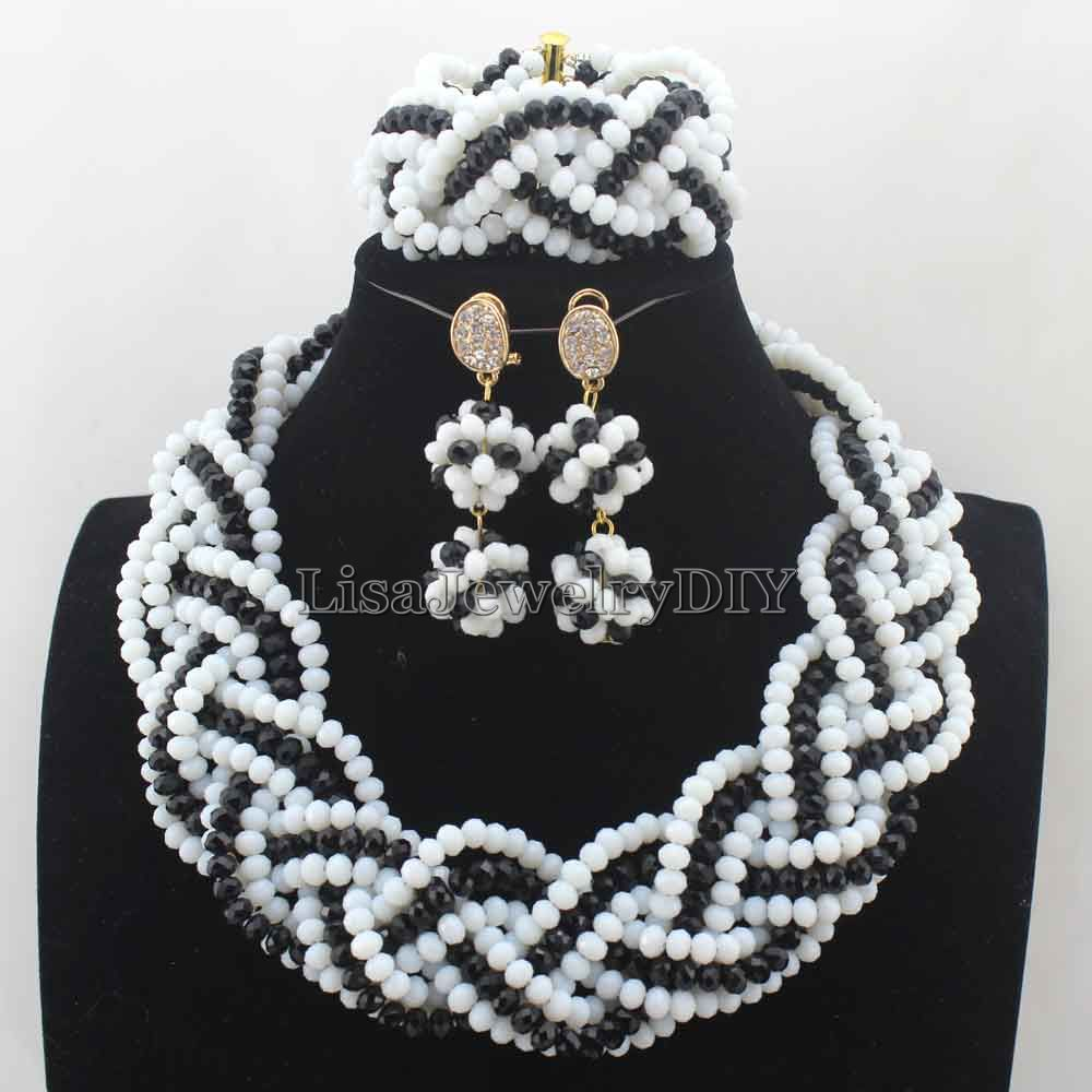 Mode Hitam Putih Wanita Kostum Nigeria Afrika Beads Jewelry Set Sticker Bomb Laptop Gitar Helm Sepeda Dll 50pcs Kristal Gratis Pengiriman Hd7672