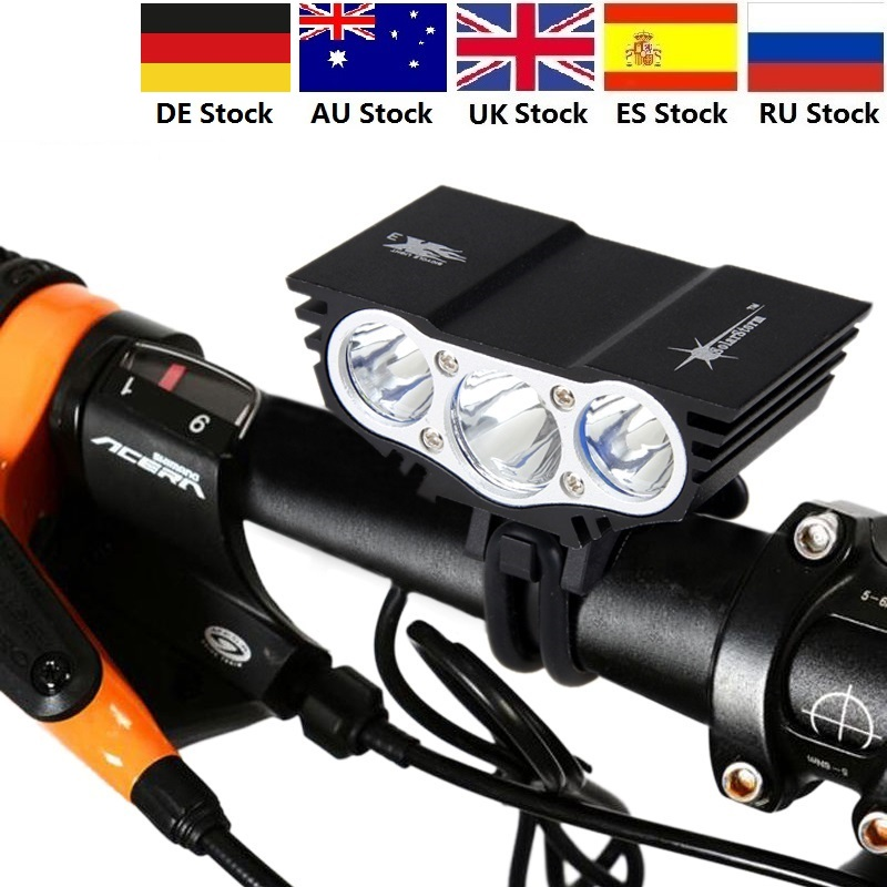 X3 1500 Lm 3 LED lamp beads Head MTB Front Bicycle Light Bike light Headlamp with Battery Package AU UK ES RU StockX3 1500 Lm 3 LED lamp beads Head MTB Front Bicycle Light Bike light Headlamp with Battery Package AU UK ES RU Stock