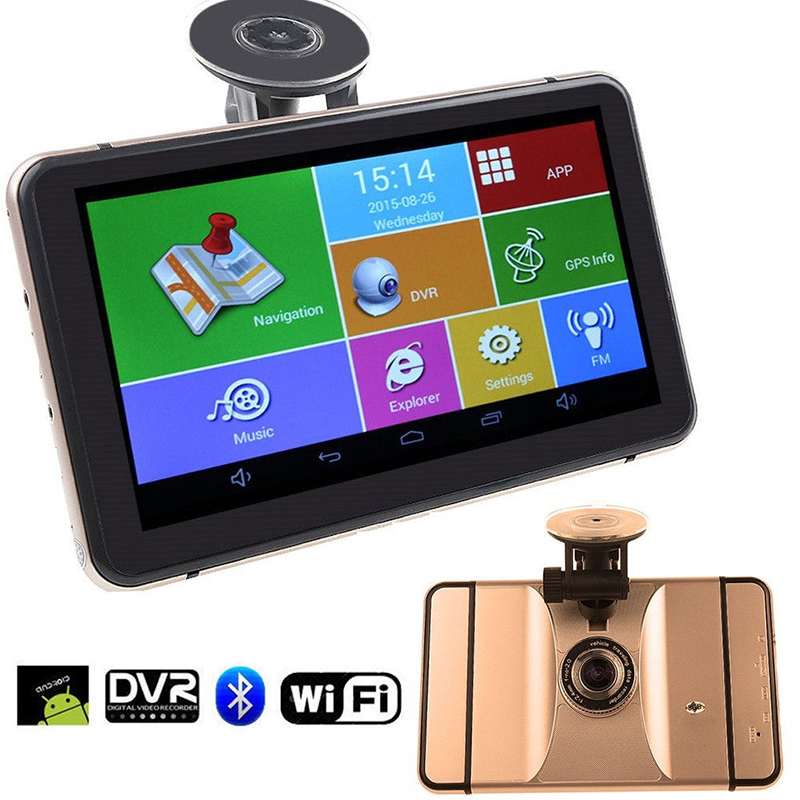7 Inch Android GPS Navigation Wifi Bluetooth 1080P Car DVR With GPS Navigators Rearview Mirror Recorder DVR GPS Free Map Tourist silver wings silver wings 22qsilg00614o 19