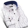 Caiziyijia 2017 longa da luva dos homens slim fit vestido listrado camisas dos homens clássico do enrugamento-livre unelastic oxford botão-camisa para baixo