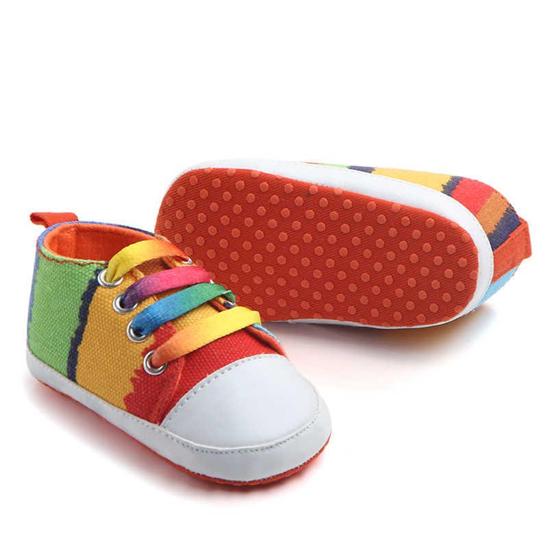Zapatillas deportivas clásicas para niños recién nacidos, zapatos para bebés, Arco Iris, niños, zapatillas de lona para niñas, botas de bebé suaves