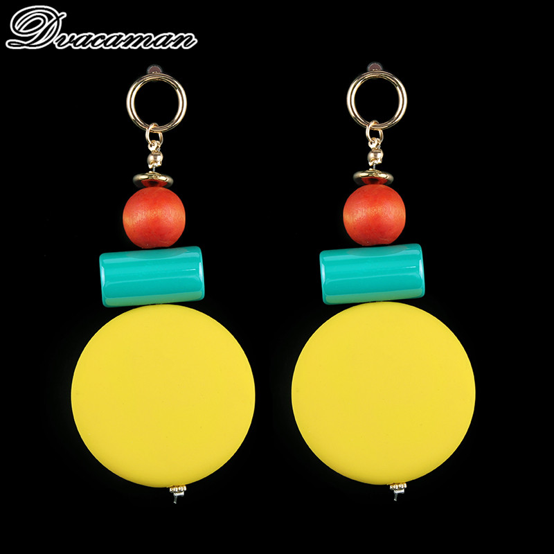 Dvacaman Bohemian Resin Pinky Color Statement Earrings Holiday Jewelry Cheap Fashion Dangle Drop Earrings For Women Wholesale