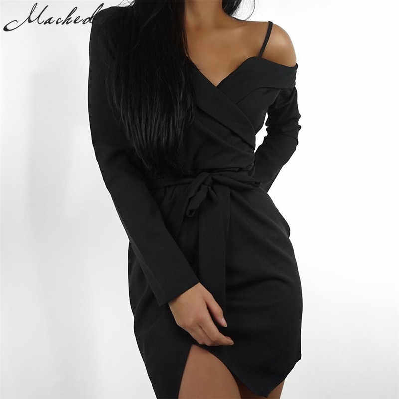 5993234889b1 Macheda New Fashion Off Shoulder V-Neck Women Dress Long Sleeve Elegant  Dress Bow Sashes