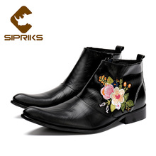 Sipriks mens zipper boots black genuine leather embroider ankle boots fashion pointed toe short boots european rubber sole shoes
