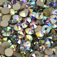 Junao aaaaa SS16 SS20 ss30 Cristal AB cristal Diamantes con piedras falsas posterior plana clara cristales Piedras no hotfix strass redondo Cuentas