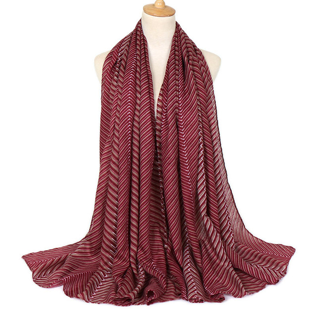 2b2064cea6e4a US $8.99 10% OFF|Malaysia Women Cotton Striped Crinkle Hijab Pashmina Shawl  Scarves Female Linen Plain Foulard Wrap Cover Head Beach Neck Scarf-in ...