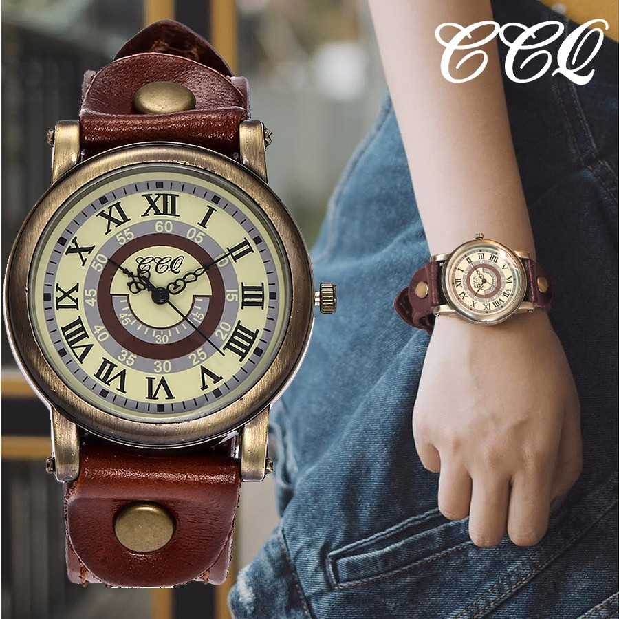 CCQ Brand Unisex Women Men Roma Dial Watches Vintage Genuine Leather Strap Waterproof Quartz Wrist Watches Relogio Feminino Hot