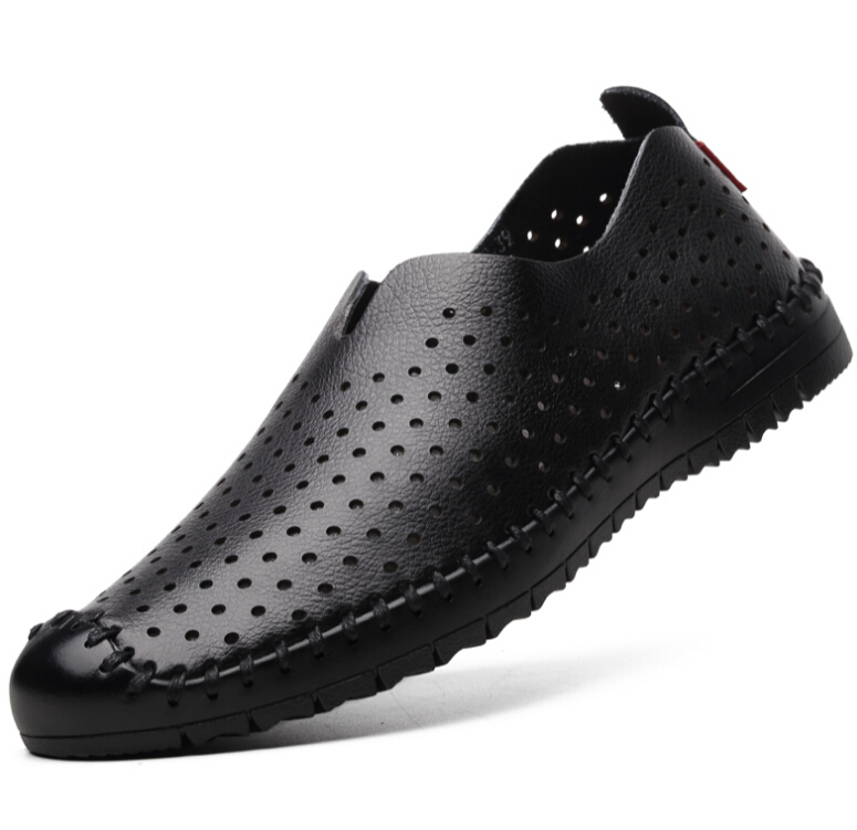 Genuine leather Men s Summer Shoes 2017 Men breathable Sandals Hollow Business Sandal soft Moccasins Driving